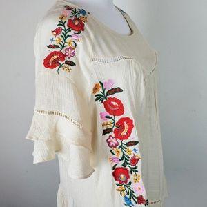 Umgee Floral Embroidered Flutter Sleeve Boho Top